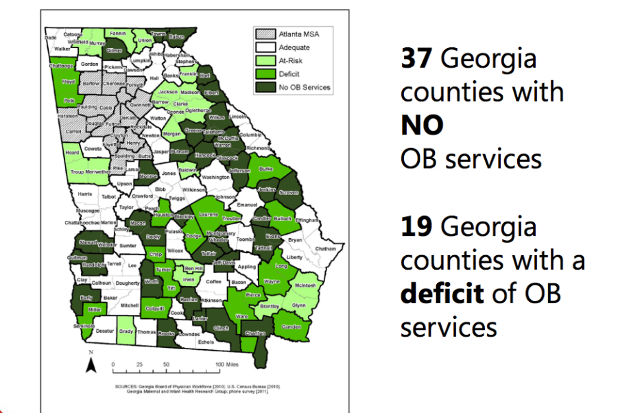 Georgia Counties w: NO OB Services