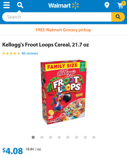 The Price of Froot Loops at Walmart